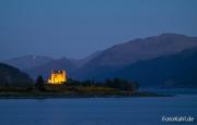 Blick im dunkeln vom Camp Site auf das Castle.