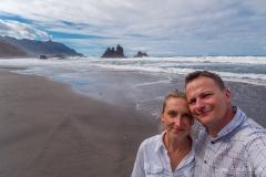 Teneriffa -  Wir der Roque Benijo und wir am Playa de Benijo